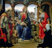 Enthroned Paintings - Madonna and Child by Filippino Lippi