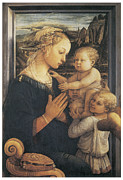 Religious Art Painting Posters - Madonna and Child Poster by Fra Filippo Lippi