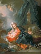 Curtains Framed Prints - Madonna and Child Framed Print by Francois Boucher