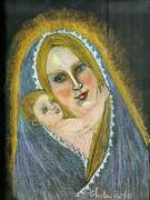 Icon  Drawings - Madonna And Child From Imagination by Elena Malec