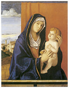 Religious Art Paintings - Madonna and Child by Giovanni Bellini