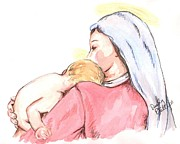 Child Jesus Drawings - Madonna and Child II by Denny Phillips