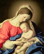Xmas Painting Posters - Madonna and Child Poster by Il Sassoferrato