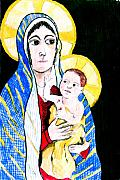 Jame Hayes Mixed Media Posters - Madonna and Child Poster by Jame Hayes
