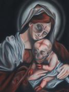 Virgin Mary Pastels Prints - Madonna and Child Print by Joe Dragt