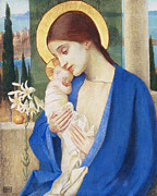 Halo Painting Framed Prints - Madonna and Child Framed Print by Marianne Stokes