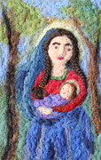 Felted Tapestries - Textiles Prints - Madonna and Child Print by Nicole Besack