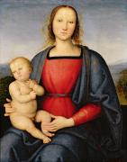Virgin Mary Paintings - Madonna and Child by Pietro Perugino