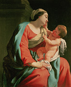 Christ Child Posters - Madonna and Child Poster by Simon Vouet