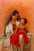 Child Jesus Paintings - Madonna and Child by Tim Kelly