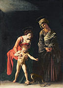 Naked Metal Prints - Madonna and Child with a Serpent Metal Print by Michelangelo Merisi da Caravaggio
