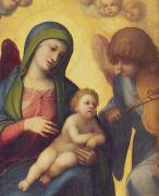 Virgin Mary Paintings - Madonna and Child with Angels by Correggio