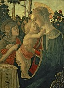 Smile Painting Metal Prints - Madonna and Child with St. John the Baptist Metal Print by Sandro Botticelli