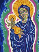 Virgin Mary Pastels Posters - Madonna And Christ Child Poster by Robert  SORENSEN