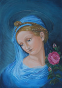 Catholic Icon Framed Prints - Madonna and the rose Framed Print by M S