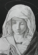 Virgin Mary Drawings Prints - Madonna at Prayer Print by Miguel Rodriguez