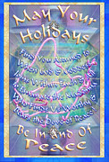 Chalicebridge.com Posters - Madonna Dove and Chalice Vortex over the World Holiday Art with Text Poster by Christopher Pringer