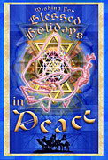 Chalicebridge.com Posters - Madonna Dove and SyntheStar Chalice over Three Kings Holiday Card with text Poster by Christopher Pringer