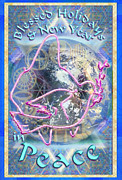 Chalicebridge.com Posters - Madonna Dove Chalice and Logos over Globe Holiday Art with text Poster by Christopher Pringer
