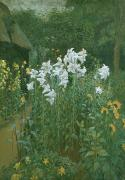 White Blossoms Paintings - Madonna Lilies in a Garden by Walter Crane