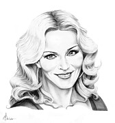 Famous People Drawings - Madonna by Murphy Elliott