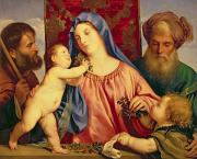 Infant Christ Posters - Madonna of the Cherries with Joseph Poster by Titian