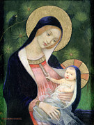 Blackbird;christ Child; Mother Framed Prints - Madonna of the Fir Tree Framed Print by Marianne Stokes