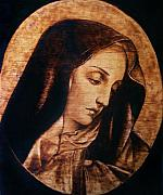 Religious Art Pyrography Originals - Madonna by Roxana Voicu