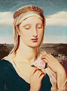 Virgin Mary Framed Prints - Madonna Framed Print by Simeon Solomon