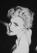 Charcoal Portrait Posters - Madonna Poster by Steve Hunter