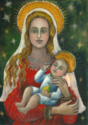 Baby Jesus Mixed Media Prints - Madonna with baby Jesus Print by Vera Zales