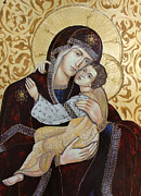 Byzantine Prints - Madonna with Child Print by Iconos Art