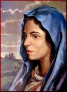 Italian Wine Paintings - Madonna with landscape by Vaccaro