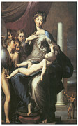 Virgin Mary Paintings - Madonna with the Long Neck by Parmigianino