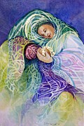 Abstract Mother And Child Paintings - Madonnas Gift by Judith A Smothers