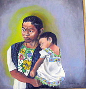 Mayan Paintings - Madre and Nina by John Sowley