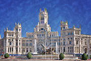 Fountain Scene Framed Prints - Madrid City Hall Framed Print by Joan Carroll