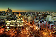 Light Trail Posters - Madrid Cityscape Poster by Photo by cuellar