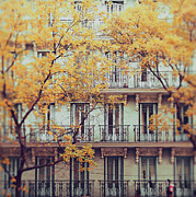 Balcony Prints - Madrid Facade In Late Autumn Print by Julia Davila-Lampe