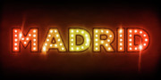 Name Prints - Madrid in Lights Print by Michael Tompsett