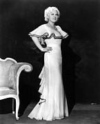 Ruffled Dress Framed Prints - Mae West, Ca. 1930s Framed Print by Everett