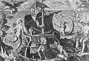 Sea Monster Mythology Prints - Magellan Setting Out To Sea, 1519 Print by Science Source