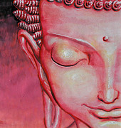 Jose Miguel Barrionuevo Metal Prints - Magenta Buddha Metal Print by Jose Miguel Barrionuevo