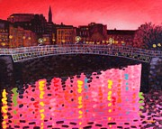 City Scape Painting Framed Prints - Magenta Evening Dublin Framed Print by John  Nolan
