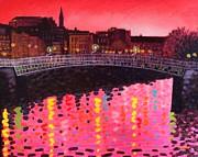 Magenta Evening Dublin Print by John  Nolan