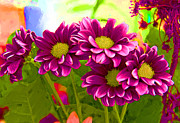 Impressionist - Magenta Flowers by Chuck Staley