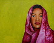 Shawl Painting Originals - Magenta Girl by Jun Jamosmos