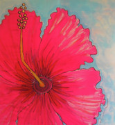Red Flowers Tapestries - Textiles - Magenta Hibiscus by Kelly     ZumBerge