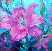 Lily Digital Art Originals - Magenta Lily by Nanci Cook