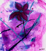 India Mixed Media Prints - Magenta Magic Flower Print by Marsha Heiken